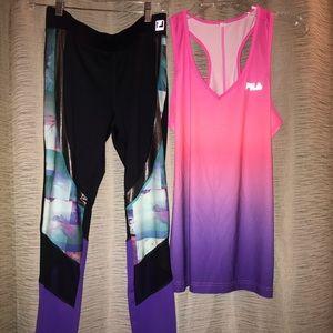 Fila yoga pants and tank top!